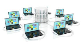 Network database and laptop icons Stock Photo