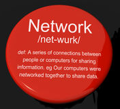 Network Definition Button Showing System Of Computers Or People. Network Definition Button Shows System Of Computers Or People Connected royalty free illustration