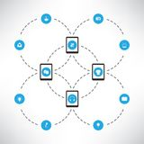 Network Design Concept With Tablet PCs and Various Icons Royalty Free Stock Images