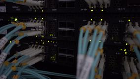 Network devices technology, optical fiber cable and switch. Datq cener stock footage