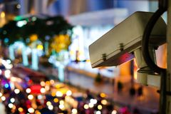 Network digital Big data CCTV system for protection. Network digital Big data CCTV system for protection or security set on the street road for safety Royalty Free Stock Image