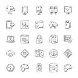 Network and Communication Doodle Icons Set. This Network Doodle Icons are great infographic vectors set for explaining how the world is totally connected these Royalty Free Stock Images