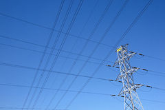 Network of Electric Cables Against Blue Sky Royalty Free Stock Photography