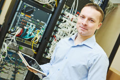 Network engineer admin at data center Royalty Free Stock Images