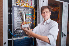 Network engineer in server room Royalty Free Stock Images