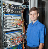 Network engineer in server room Stock Photography