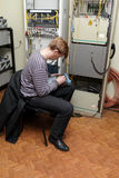 Network engineer at site Royalty Free Stock Photos