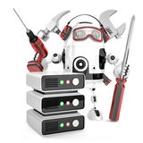 Network engineer with tools. Isolated, contains clipping path Stock Photo
