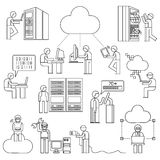 Network engineering, people with cloud computing concept Royalty Free Stock Photo