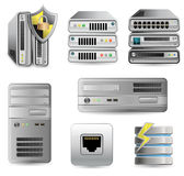 Network Equipment Set. Network Firewall, Router, Switch or Server. Server defender Royalty Free Stock Image