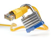 Network ethernet cable locked with padlock isolated on white bac. Kground. Internet security and data protection concept. 3d illustration Royalty Free Stock Photos