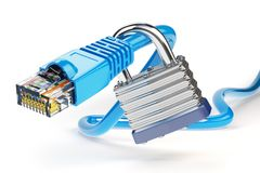 Network ethernet cable locked with padlock isolated on white bac. Kground. Internet security and data protection concept. 3d illustration Stock Images