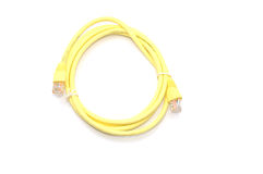 Network Ethernet Cable Over White Background Stock Photo