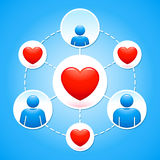 Network of family and love icons over blue Stock Photography
