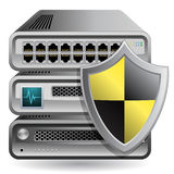 Network Firewall. Router, Switch or Server. Server defender.  Network Equipment Icon Stock Photo