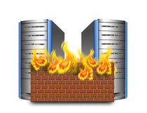 Network firewall. Network security ,servers with firewall Royalty Free Stock Photos