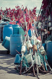 Network fishing drying on the beach in sunny day. Baltic Sea and Royalty Free Stock Image