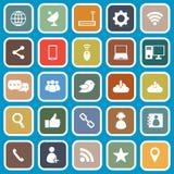 Network flat icons on blue background Stock Image