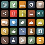 Network flat icons with long shadow Royalty Free Stock Photography