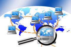 Network Fraud Investigation. An image for the concept of Network Fraud Investigation. This graphic shows a map of the world with laptop computers sitting on top royalty free illustration
