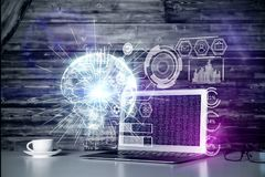 Network and future concept. Close up of creative designer desktop with laptop, coffee cup and digital business interface. Network and future concept. Double Royalty Free Stock Image