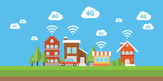 Network 4g ifi internet smart city  wireless broadband. 4g network wifi internet city smart city  wireless broadband vector Royalty Free Stock Photography