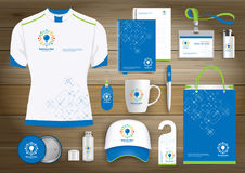 Network Gift Items, Color promotional souvenirs design for link corporate identity with technology lines. Stationery set, digital. Network Gift Items With Color Royalty Free Stock Photography