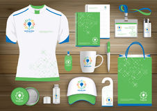 Network Gift Items, Color promotional souvenirs design for link corporate identity with technology lines. Stationery set, digital. Network Gift Items With Color Royalty Free Stock Image