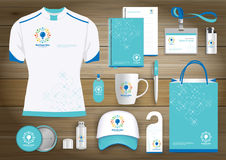 Network Gift Items, Color promotional souvenirs design for link corporate identity with technology lines. Stationery set, digital. Network Gift Items With Color Stock Image