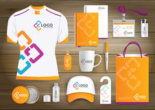 Network Gift Items, Color promotional souvenirs design for link corporate identity with technology lines. Stationery set, digital. Network Gift Items With Color Royalty Free Stock Photos
