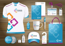 Network Gift Items, Color promotional souvenirs design for link corporate identity with technology lines. Stationery set, digital. Network Gift Items With Color Stock Images
