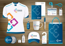 Network Gift Items, Color promotional souvenirs design for link corporate identity with technology lines. Stationery set, digital. Network Gift Items With Color Stock Photography