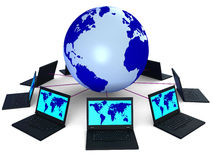Network Global Means Technology Monitor And Pc Royalty Free Stock Photos