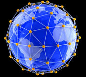 Network on globe Stock Photo