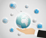 Network globe on the hand Royalty Free Stock Photos