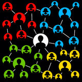 Network groups. Different groups in a social network stock illustration