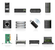Network hardware icons Stock Photos