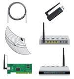 Network hardware set. Network icon set isolated on white background stock illustration