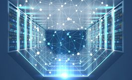 Server room interior, network. Network hologram over interior of server room with gray floor and ceiling, rows of servers along the walls and lights in the floor vector illustration