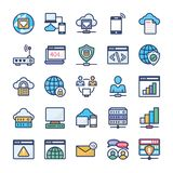 Network Hosting and Servers Flat Icons Pack royalty free illustration