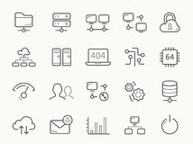 Network Hosting and Servers Line Icons Royalty Free Stock Photo
