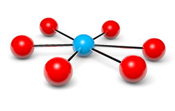 Network hotspot. Blue network hotspot and red nodes connected 3d illustration Royalty Free Stock Image