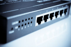 Network Hub. 5 port high speed Ethernetinternt network hub stock photo