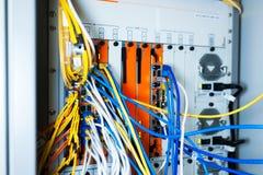 Network hub cable lan Close up Stock Photos