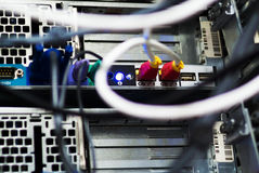 Network hub cable lan Close up Stock Photography