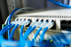 Network hub cable lan Close up.  Stock Images