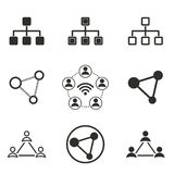 Network icon set. Network vector icons set. Black illustration isolated on white background for graphic and web design Royalty Free Illustration