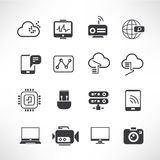 Network icons. Set of 16 network icons Royalty Free Stock Image