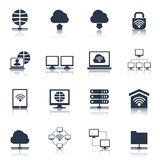 Network Icons Black Stock Photo
