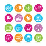 Network icons. Collection of 16 network icons in colorful buttons vector illustration